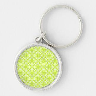 Bright Chartreuse Day Glow Geometric Pattern Key Chain