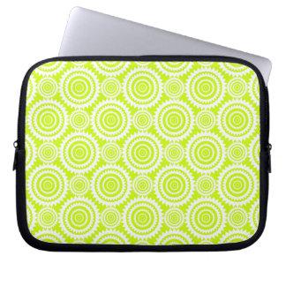 Bright Chartreuse Day Glow Geometric Pattern Laptop Sleeve