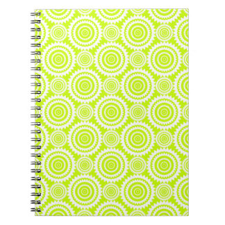 Bright Chartreuse Day Glow Geometric Pattern Spiral Note Book