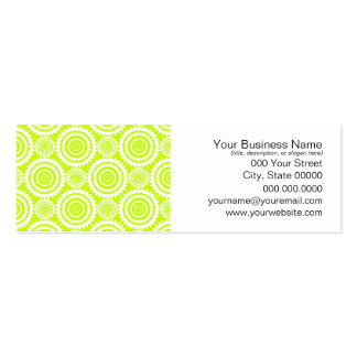 Bright Chartreuse Day Glow Geometric Pattern Pack Of Skinny Business Cards
