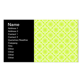Bright Chartreuse Day Glow Geometric Pattern Pack Of Standard Business Cards