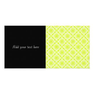 Bright Chartreuse Day Glow Geometric Pattern Custom Photo Card
