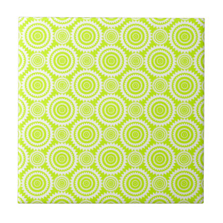 Bright Chartreuse Day Glow Geometric Pattern Small Square Tile