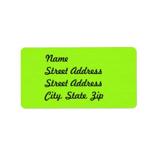 Bright Chartreuse Green Address Sticker Address Label
