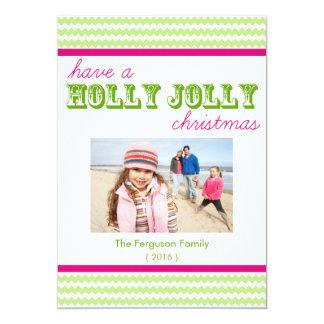 Bright Chevron Holly Jolly Christmas Flat Card 13 Cm X 18 Cm Invitation Card