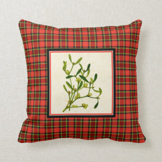 Bright Christmas Plaid with Vintage Mistletoe Cushion