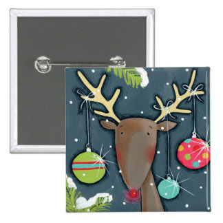 Bright Christmas Reindeer 15 Cm Square Badge