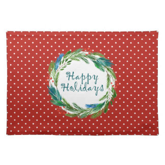 Bright Christmas Watercolor Holly Pine Wreath Placemat