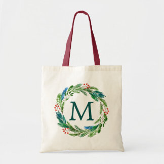 Bright Christmas Watercolor Holly Pine Wreath Tote Bag
