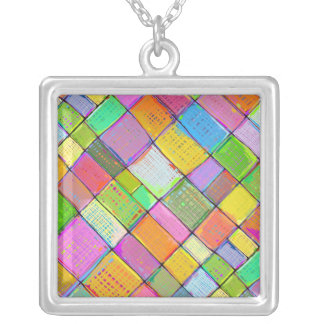 Bright color vibrant fun modern abstract quilt art personalized necklace