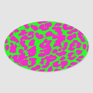 Bright Colored Abstract Cheetah Spots Oval Stickers