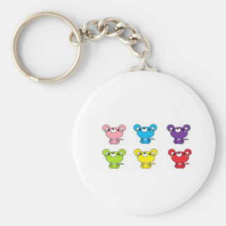 Bright Colored Cartoon Mice in Rows Key Ring