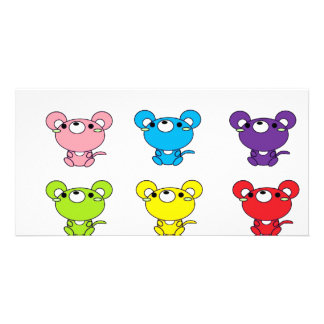 Bright Colored Cartoon Mice in Rows Photo Cards