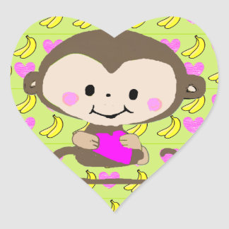 Bright colored cartoon monkey holding heart heart sticker