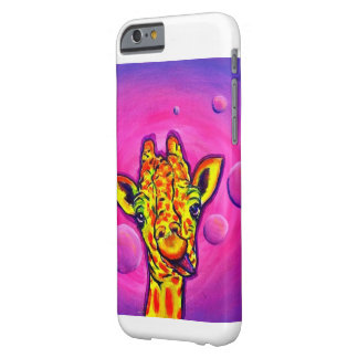Bright colored giraffe and bubbles barely there iPhone 6 case