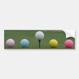 bright colored Golf Balls on a mountain Bumper Sticker