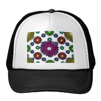 bright colored retro inspired flowers cap