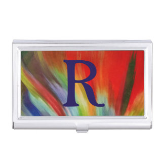 bright colorful abstract paint watercolor art cool business card holder