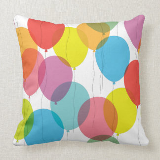 Bright Colorful Birthday Balloons Pillow Throw Cushions