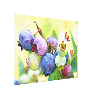 Bright Colorful Blueberries Watercolor Painting Canvas Print