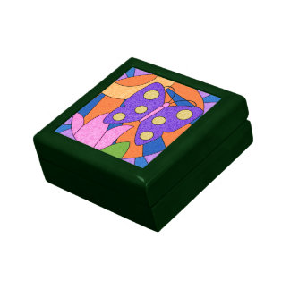 Bright Colorful Butterfly Girly Tile Jewelry Box