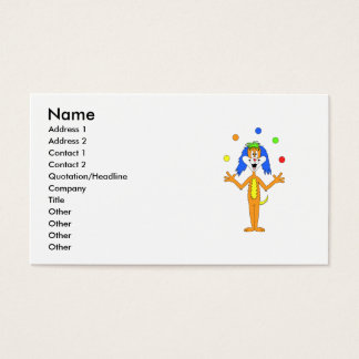 Bright colorful Clown Dog Cartoon Business Card