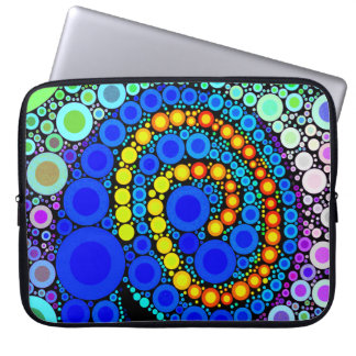 Bright Colorful Concentric Circles Swirl Pop Art Laptop Sleeves