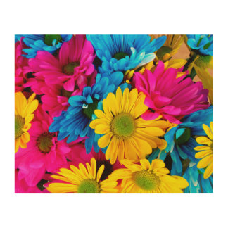 Bright Colorful Daisies Wood Print