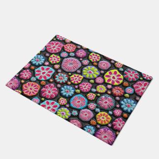 Bright Colorful Embossed Looking Flower Pebbles Doormat