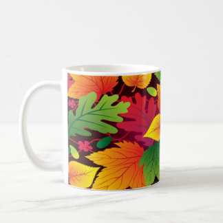 Bright Colorful Fall Leaves Design Coffee Mug Cup
