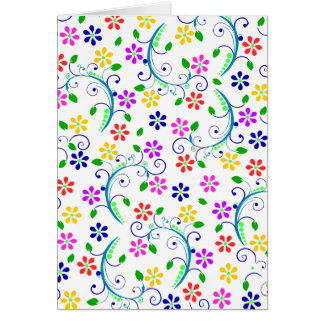 Bright, Colorful, Floral Swirly Birthday Card