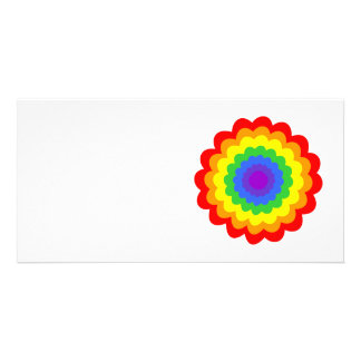 Bright colorful flower in rainbow colors. custom photo card