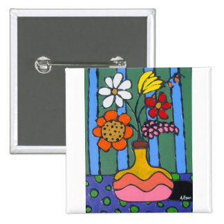 Bright Colorful Flowers Pin