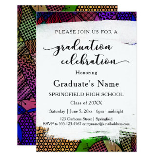 Bright Colorful Geometric Pattern Graduation Party Card