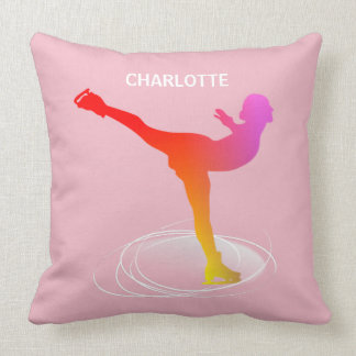 Bright Colorful Ice Skating Silhouette Graphic Cushion