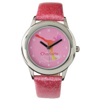 Bright Colorful Ice Skating Skater Silhouette Watch