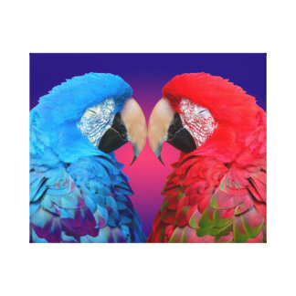 Bright colorful macaw or parrot stretched canvas prints