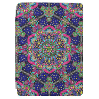 Bright colorful mandala pattern on dark blue iPad air cover