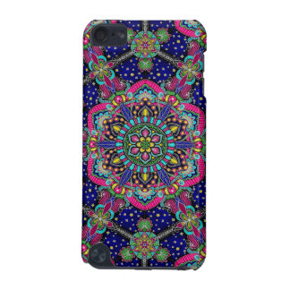 Bright colorful mandala pattern on dark blue iPod touch 5G cover