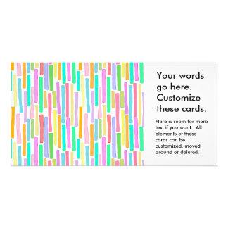 Bright colorful mini stripes fun pattern painting photo greeting card