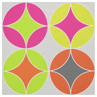 Bright Colorful Modern Circles Repeat Patterned Fabric
