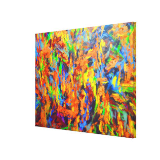 Bright Colorful Multicolor Abstract Art Painting Stretched Canvas Print