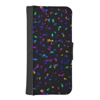 Bright colorful neon confetti on dark iPhone SE/5/5s wallet case