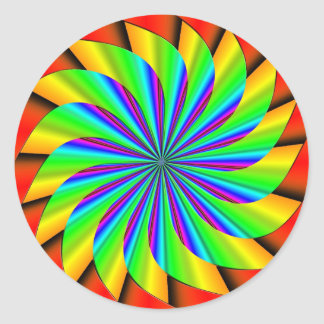 Bright Colorful Pinwheel Fractal Classic Round Sticker