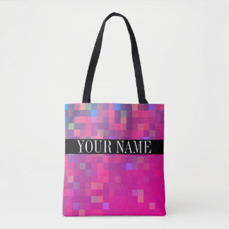 Bright Colorful Pixel Square Pattern Tote Bag