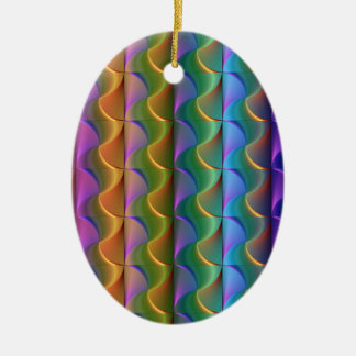 Bright Colorful Psychedelic Pattern Ceramic Ornament