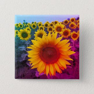 Bright Colorful Rainbow Sunflowers Harvest 15 Cm Square Badge