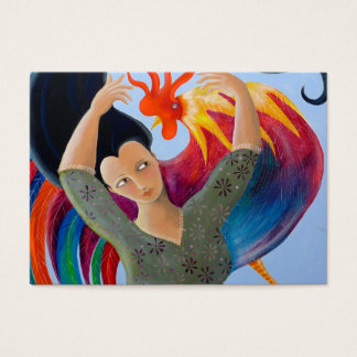 Bright Colorful Rooster and Lady. Business Card
