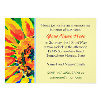 Bright Colorful Single Sunflower Acrylic Painting 13 Cm X 18 Cm Invitation Card