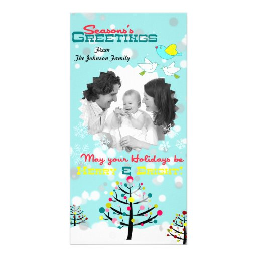 Bright Colorful Snowy Christmas Tree Holiday Card Photo Greeting Card